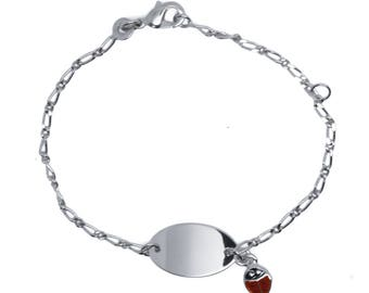 Ladybug engraved sterling silver curb chain