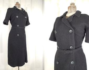 Vintage 1960s Dress / 60s Plus Size Dress / Black Wiggle Dress XL