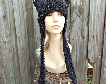 Obsidian Tweed Black Cat Hat Black Knit Hat Womens Hat - Black Ear Flap Cat Hat - Black Hat Black Beanie Black Ear Flap Hat