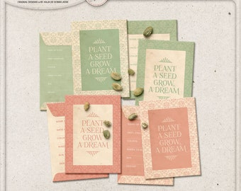 Seed Savers, Printable Digital Collage Sheet, Instant Download, Grow A Dream, Shabby Chic Seed Envelope, Wedding Gift, For The Garden