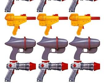 Radical Rayguns - Vintage Space Raygun Star Trek Toys -  Clip Art - Digital Collage Sheet - Printable