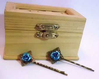 Antique Brass With Teal Rose Bobby Pin Set