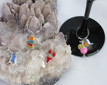 Beach Babe Wine Glass ID Charms