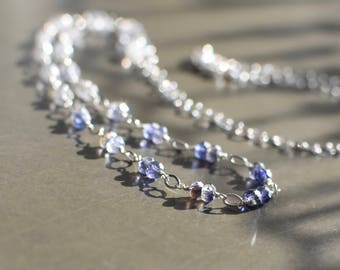 Iolite Necklace, Sterling Silver Necklace, Water Sapphires