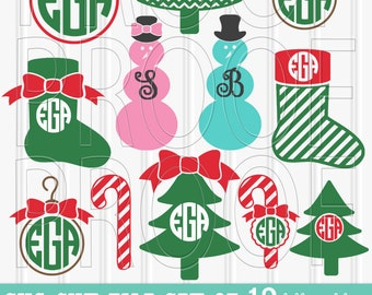 Christmas Monogram SVG Files Set of 12 cut files includes svg/png/jpg formats Commercial use  snowman svg tree svg {monograms not included}