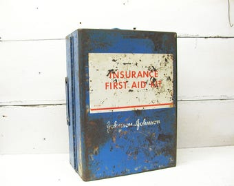 Vintage First Aid Kit -  Cabinet - Red Cross - Blue First Aid - Johnson & Johnson - Truck First Aid - Portable Fist Aid Cabinet
