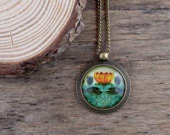 Water lily pendant, Art Nouveau flower necklace, Green yellow pendant, Teal necklace, Tile Art Nouveau pendant, Water lily necklace AJ 051