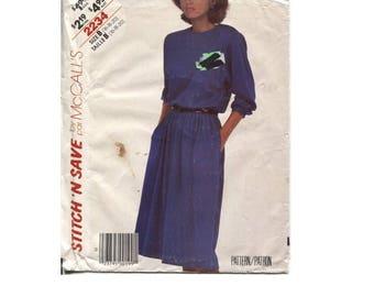 Elastic Waist Pullover Dress Pattern - Size 16 18 20 - McCalls 2234 Stitch N Save - Vintage