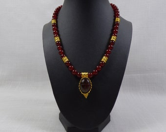 MMA Necklace Red Stones with Egyptian Revival Scarab Pendant