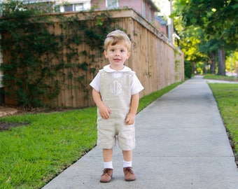 Baby Boy Wedding Outfit - Linen Shortall for Boys - Toddler Boy Romper - Boys Jon Jon Romper - Boys Linen Romper - Monogrammed Easter Outfit