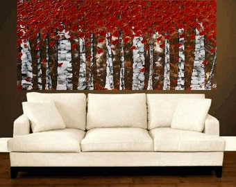 Original Modern  Red Trees Birch   Forest Impasto Textured Palette Knife  Landscape  Painting.  Made2Order.