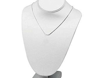 Necklace Bust Display Stand Faux White Leather
