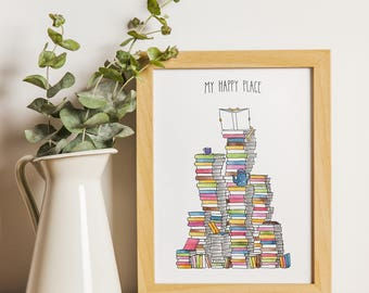 A4 My Happy Place - Poster / Art Print - illustration - bookworm - booklover - books - poster - home decor - literary gift - watercolor.