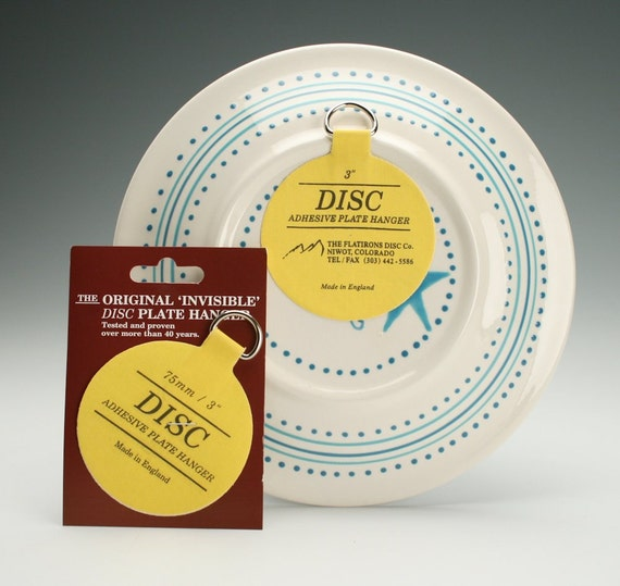 Extra Small Plate Hangers Set of Two (2) - Invisible Disc - 1-1/4\  For Plates Up To 4\  Plate Wall Hanger & Extra Small Plate Hangers Set of Two 2 Invisible Disc