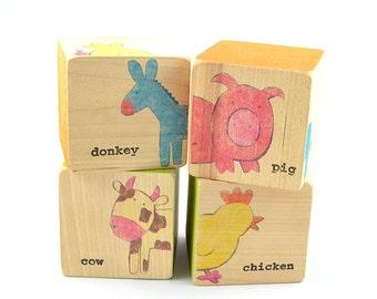 Animal Puzzle Wood Blocks - Farm Animals
