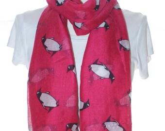 Red penguin Scarf shawl, Beach Wrap, Cowl Scarf, red penguin print scarf, cotton scarf, gifts for her