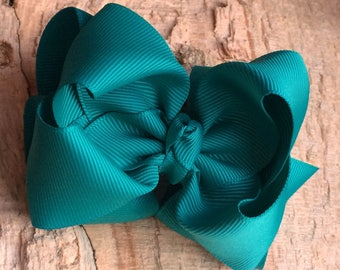 Peacock Green 4 Inch Double Stacked Bow