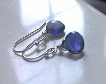Iolite Watercolor Teenie Earrings, Sterling, blue gemstone earrings, christmas gift, birthday gift
