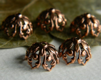 Filigree Bead Caps Bohemian Findings Antique Brass Copper Bead Caps Brass Findings Jewelry Making Brass Beadcaps 12mm Made In USA (6pcs)