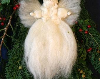 Waldorf, Merino Wool, Christmas Tree Top Angel,  needle felted, fairy wool, Christmas ornament, Christmas decoration