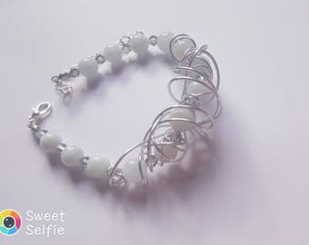 Gray Beaded Silver Bracelet for Women