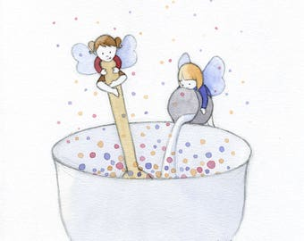 ORIGINAL Baking a Fairy Cake - Watercolor Painting