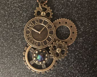 A Clockwork Gears. Steampunk necklace with multicolored bead. Bronze w/ bronze ball chain. Women girls short pendant *handmade*one of a kind