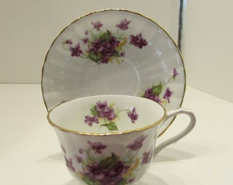 CLARENCE BONE CHINA Tea Cup and Saucer - Violets Pattern - Made in England