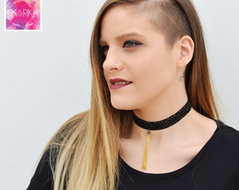 Choker necklace, Lace necklace, Black lace choker, Gold chain choker, Unique choker, Gift for Her, Trendy Choker, Chic lace choker, Sexy