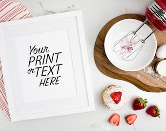 Print Background / Blank Frame / Styled Stock Photography / Product Photography / Staged Photography / Red / Fruit / Baking / Kitchen / K001
