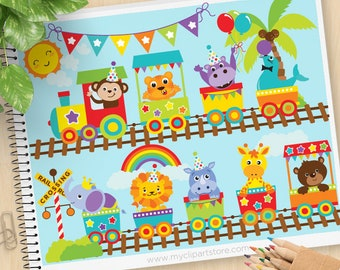 Zoo Train Clipart, Zoo Animals, safari, Jungle, circus, lion, giraffe, monkey, elephants, Commercial Use, Vector clip art, SVG Cut Files