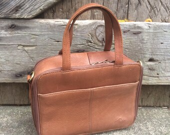 Marlo Honey Brown Leather Top Handle Bag Vintage Marlo Bag