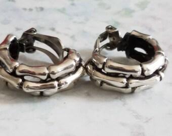 Vintage Sterling Silver Bamboo Earrings Clip On Earrings 925