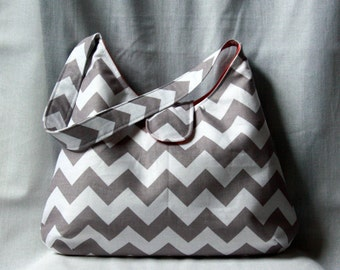 Gray Chevron Hobo Bag - Gray and White Chevron with Coral Lining