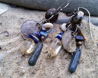 Burmese Coin Earrings, Cluster, Bohemian, Ethnic,Gemstone, Kyanite, Chalcedony, Citrine, Lapis, Rustic Earrings, Boho, Hippie, Talisman