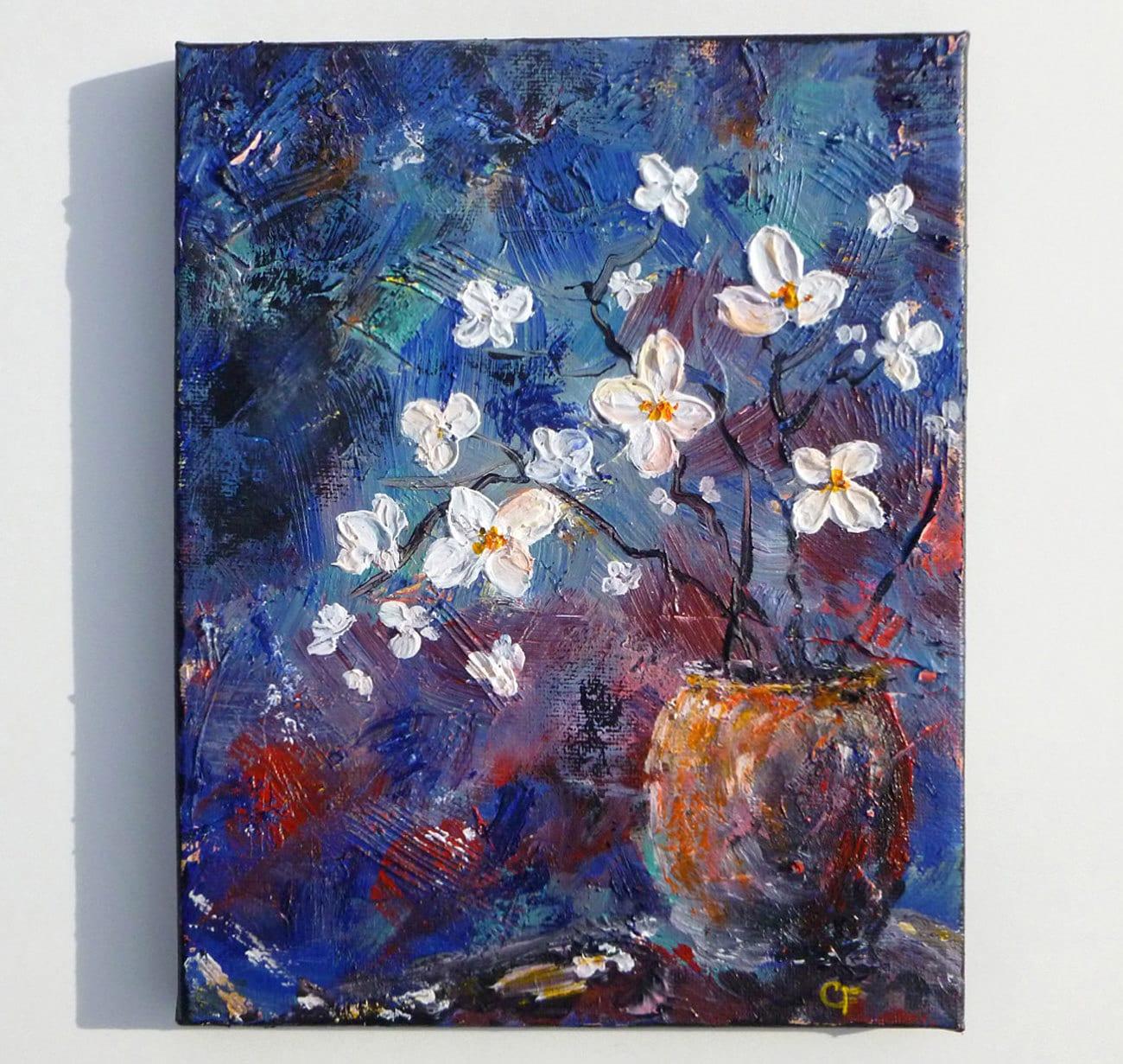 Flower vase painting textured flowers painting 8x10 zoom reviewsmspy