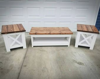 Farm House Rustic X Style Coffee Table and End Table - Low Shipping