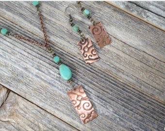 Etched Copper and Turquoise Necklace and Earring Set