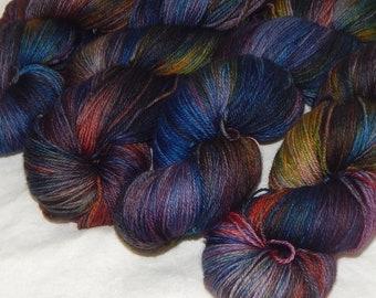 Dark Magic on Mad Fingering 100% SW merino fingering yarn
