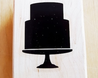 Birthday or Wedding Cake Rubber Stamp retired from Stampin Up