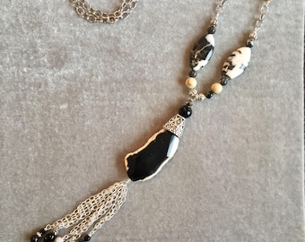 Long silver tassel necklace with fossil coral beads and chain