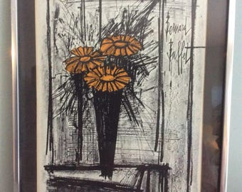 "Bernard Buffet ""Flowers"" 1968 Original Lithograph w/ cert. of authenticity"