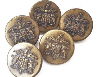 eco friendly antiqued gold tone metal regal nobility picture shank buttons with raised shield and sword design--matching lot of 5