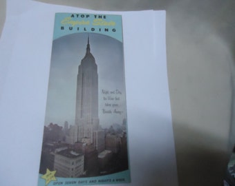 Vintage 1950's or 60's Atop The Empire State Building Brochure by Rand McNally, collectable, Lithograph