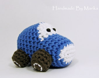Amigurumi Car Baby Toy Rattle - organic cotton - blue and brown