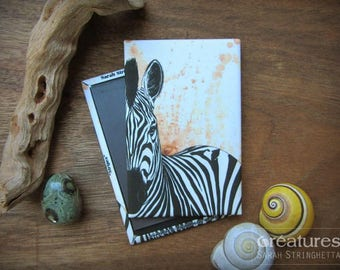 Magnet Zebra Stripes with ink and watercolor