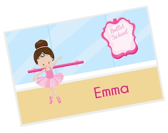 Ballerina Personalized Placemat - Ballet Class Ballerina Crown Ballet Room with Name, Customized Laminated Placemat