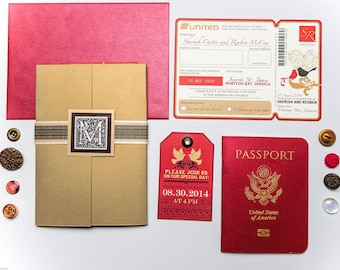 SHERIAH Passport and Boarding Pass Custom Destination Wedding Invitation, Airline Plane Ticket, Red and Gold Travel Inspired Invite Suite