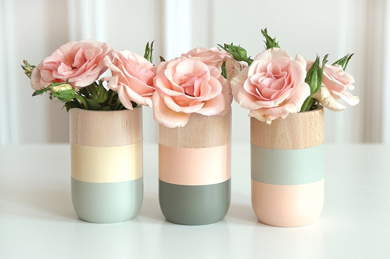 Wooden Vases Home Decor for flowers and more Set of 3