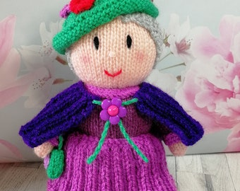 Grandmother, Hand knitted doll, Home Decoration Stuffed, Gift for her, mother day present
